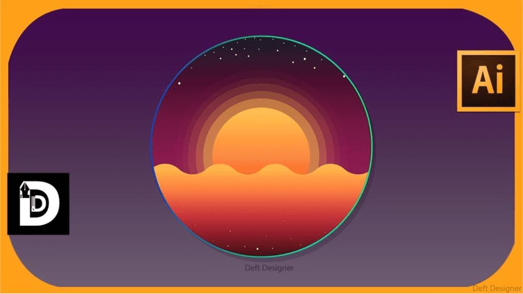 教你如何用漸層工具畫夕陽