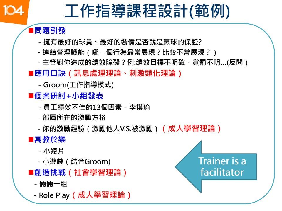 圖一:工作指導課程設計(範例)